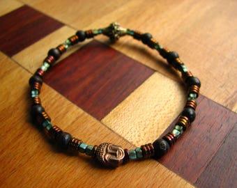 3772- Yoga Bracelet, Bouddha, Wood, Hematite
