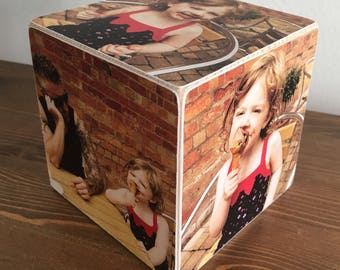 Wooden photo block. 6 sided photo box, lovely to display in your home. Photo display cube.