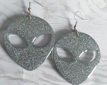 Alien Earrings Holo Earrings Holo Alien Jewelry Holographic Earrings