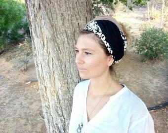 Three color Head wrap,Head scarf,Hair wrap, Hair band,women hair scarf,layered head scarf,easy to tie head scarf,yoga head wrap,earth tones