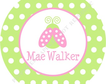 Personalized ladybug melamine plate or bowl- Personalized ladybug plate or bowl- Kids plate- Ladybug bowl - Personalized with name