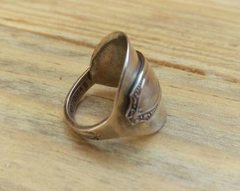 Sterling Silver - antique spoon Ring - Jewellery - Size Q 1/2 (UK)