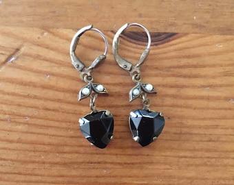 Heart Shaped  Black Earrings