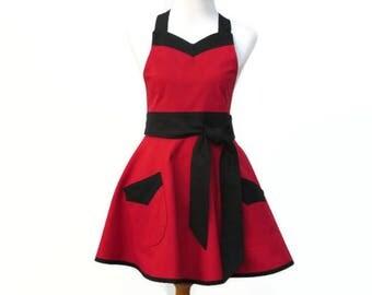 Plus Solid Red & Black Apron, Plus Red Retro Apron, Plus Black and Red Apron, Large Apron Red and Black, Plus Red Personalized Apron