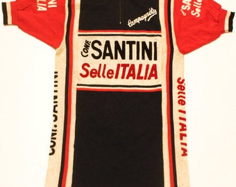 70's vintage Santini Selle italia Campagnolo cycle jersey made in Italy