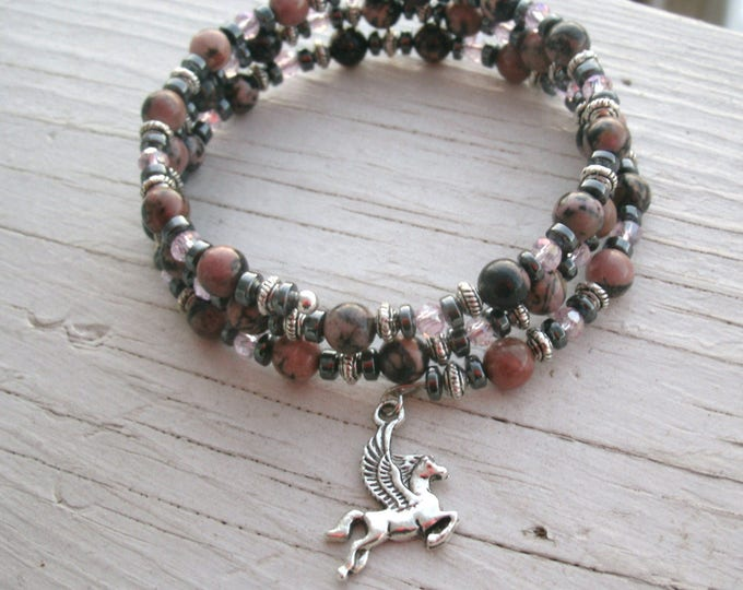 Rhodonite and Hematite with silver pegasus memory bracelet, pink and black stone beads, silver, stainless steel memory wire, fantasy charm