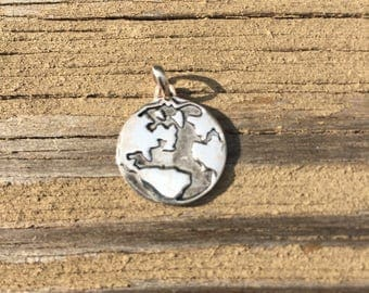 Planet Earth Sterling Silver Pendant Peace on Earth Make Love not War