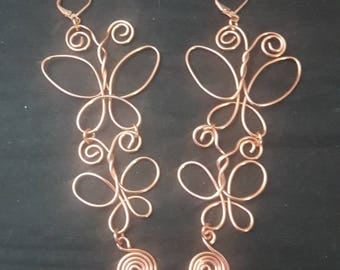 Solid Copper Wire Earrings, Wire Wrapped Earrings, Butterfly Earrings, Wire Butterfly