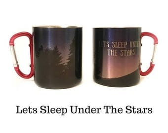 FLASH SALE Romantic Valentines Day Gift Lets Sleep Under The Stars Hiking Mug / Carabiner Mug With Quote & Photo / Rock Climbing Gift / Gift