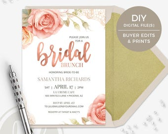 Bridal Brunch Invitation - Pink Rose Bridal Shower Invitation, Instant Download, Rose Gold Bridal Brunch Invite, Printable Invitation
