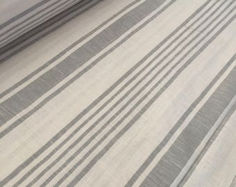 Fabric linen stripe grey heavy quality, large wide 280 cm, weight 250 gr m2 weaving France