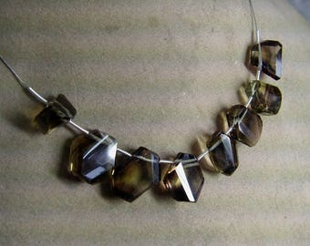 1 Strand Bio Smoky Lemon Quartz Rough Natural Faceted beads 20. grams 9X12 14X17 MM