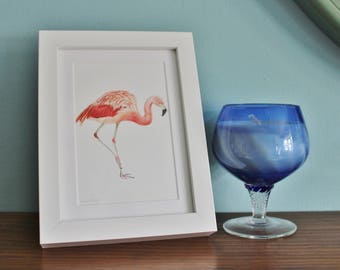 Flamingo Watercolour Painting Picture - Pink Water Bird - Framed Giclee print - Nature Art Poster - Picture and gift for the home