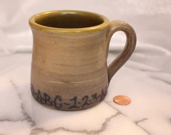 Vintage A B C 1 2 3 Mug Handmade in 1986 and Signed by the Artist