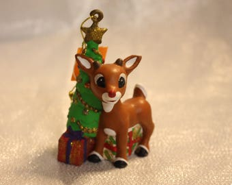 Vintage Collectible Rudolpf the Red Nosed Reindeer Ornament Christmas Tree Decoration