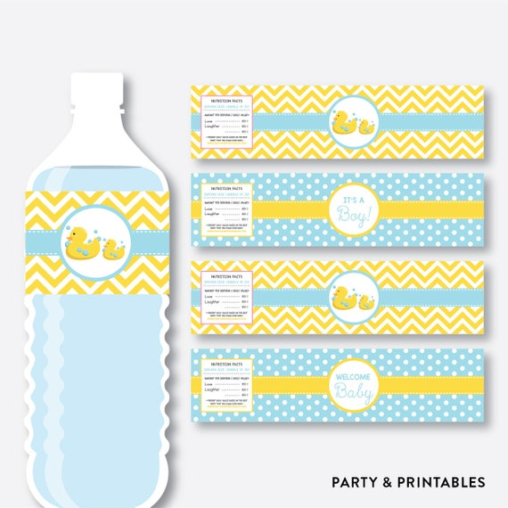 Instant Download Rubber Duck Water Bottle Labels Rubber
