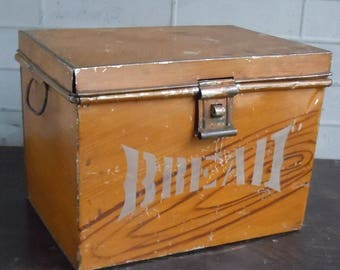Breadbox / Antique Tin Handmade Box with Authentic Faux Finish and Stenciled Label / Unusual Find