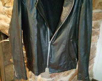 PRE SPRING SALE 1980s Excelled Black Leather Motorcycle Jacket