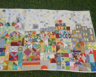 Handcrafted Designer Wall Hanging, Pieced and hand quilted.