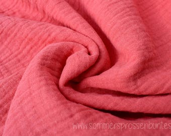 Muslin gauze fabric double gauze 100% cotton, coral