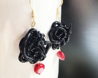 Black silicone earrings with red resin pendant, pendant earrings, black rubber earrings, silicone jewelry, contemporary Jewelry