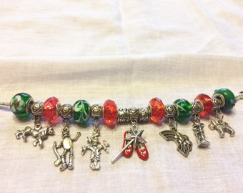 The Wizard of Oz Character Charm Bracelet European Beads