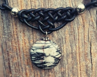 Braided shape with short leather necklace and Picasso Jasper