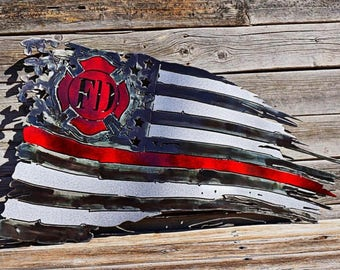 2ft American Fire Fighter Tattered Flag