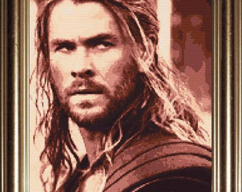 Thor Cross Stitch Pattern, Chris Hemsworth, Marvel, Avengers, Loki, Counted Cross Stitch, Photo Realistic, Embroidery, Instant Download, PDF
