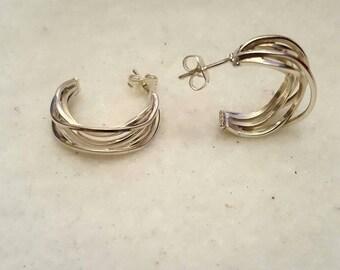 925 solid sterling silver hoops earrings