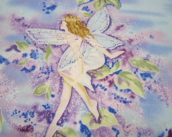 Timeless Treasures Glitter Fairy Cotton Fabric in Lavender and Blue