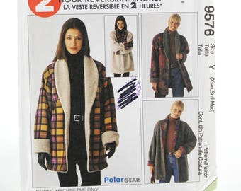 Casual Reversible Jacket Sewing Pattern, Uncut Sewing Pattern, McCalls M9576, Size XS-Med