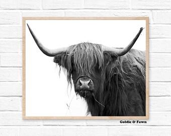 Buffalo print, bison print nursery, digital print, Black and White, boys room wall art