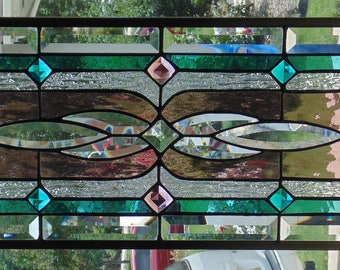 Stained Glass Window Hanging 28 X 11 3/4