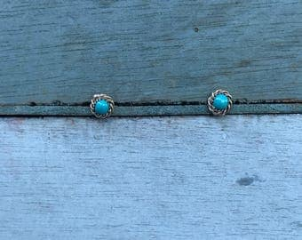 Very Small Navajo Sterling Silver Turquoise Post Stud Earrings 1g