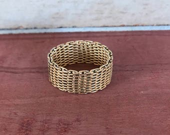 Size 7.75 Sterling Silver Chsin Link Mesh Weave Band Ring