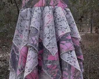 Triple layer handkerchief dress. #22 Truetimber pink cotton in fabric selection. 22 camo colors available. Your choice of lace