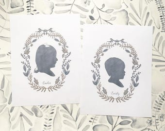 Custom Silhouette Print with 'Thicket Wreath' (Wonderful Gift)