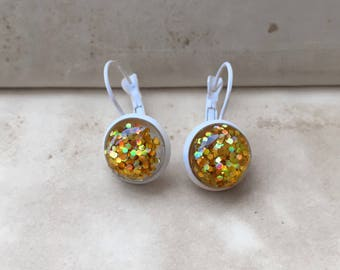 White Gold, Trendy, Party Glam, Glossy, Sparkling, Small, Hoop, Round, Gemstone, Glitter, Vintage Style, Wedding Earrings, Bridal