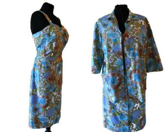 1950's 3 Piece Playsuit in Green and Blue Floral Print // Summer Outfit UK 14 US 10