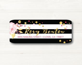 Black & White, Flower, Gold, Return Address Label, Personalized, MATTE, Watercolor Style, Glitter Style
