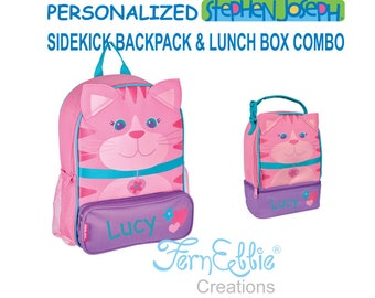 Personalized Stephen Joseph CAT Sidekick Backpack and Lunch Pal Combo, Kids Backpack, Kids Lunch Box.