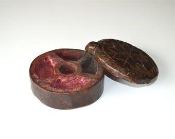 Antique hand carved teak wooden Indian third eye box circa.1900
