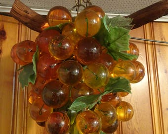 Amber Lucite Grape Cluster Hanging Swag Lamp,  Free Shipping
