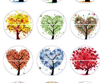 HH-trees heart 12 Digital Images/designs for 30/25/20/18/16/15/14/12/10/8 mm cabochon round/oval