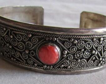 Silver and Orange Stone Cuff Bracelet