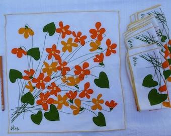 Vintage 1970s Vera Neumann 5 Napkin Set Signed Yellow Orange Flowers