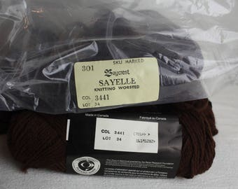 Baycrest Sayelle Knitting Worsted Yarn Lot of 10 Skeins 50g Dark Brown Acrylic New Old Stock
