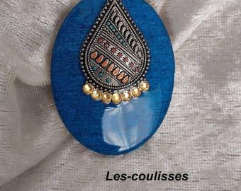 oval metal rhinestone and Royal Blue resin wood pendant, handmade