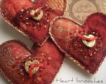 Handmade textile heart brooch